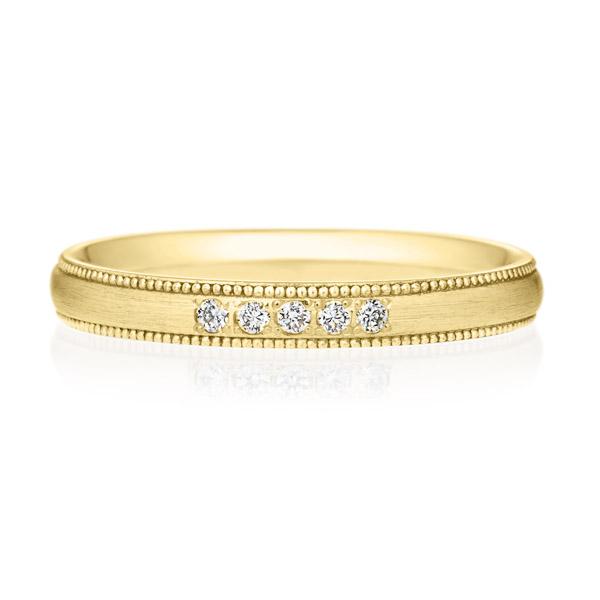 K18YG オーバル ダイヤモンド 5ps プチエタニティ リング ミルグレイン ヘアーライン  2.5mm