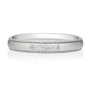 PT950 オーバル ダイヤモンド 5ps プチエタニティ リング ミルグレイン ヘアーライン  3.0mm