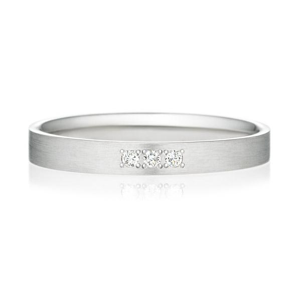 PT950 スクエア ダイヤモンド 3ps プチエタニティ リング ヘアーライン  2.5mm