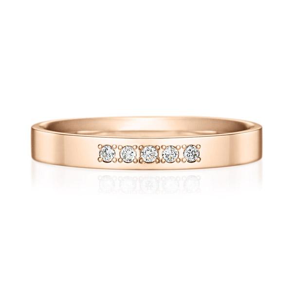 K18PG スクエア ダイヤモンド 5pcs プチエタニティ リング 2.5mm