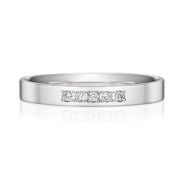 K18WG スクエア ダイヤモンド 5ps プチエタニティ リング 2.5mm