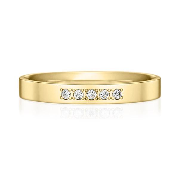 K18YG スクエア ダイヤモンド 5pcs プチエタニティ リング 2.5mm