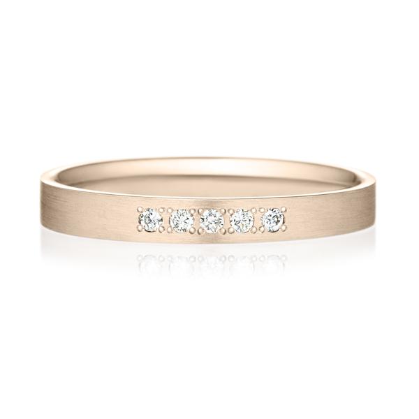 K18CG スクエア ダイヤモンド 5pcs プチエタニティ リング ヘアーライン  2.5mm
