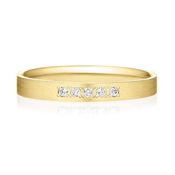 K18YG スクエア ダイヤモンド 5pcs プチエタニティ リング ヘアーライン  2.5mm
