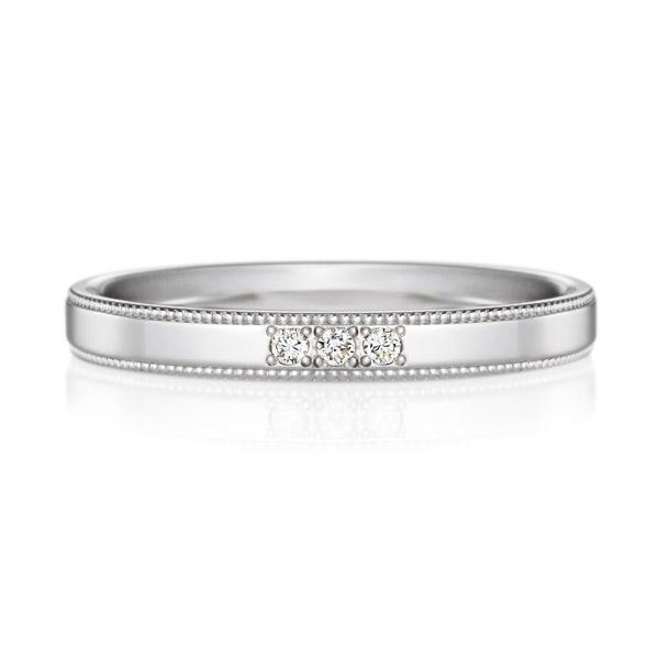 PT950 スクエア ダイヤモンド 3pcs プチエタニティ リング ミルグレイン 2.5mm