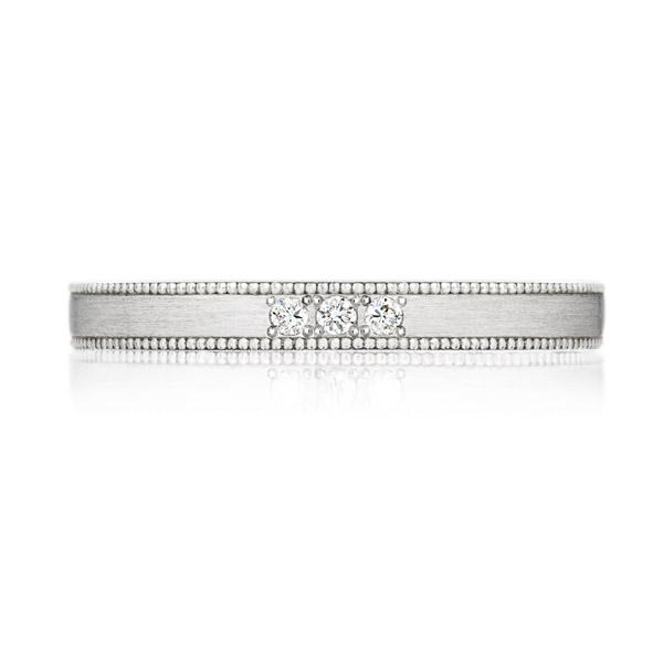 PT950 スクエア ダイヤモンド 3pcs プチエタニティ リング ミルグレイン ヘアーライン  2.5mm