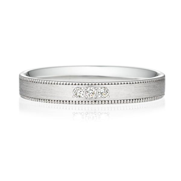 PT950 スクエア ダイヤモンド 3pcs プチエタニティ リング ミルグレイン ヘアーライン  3.0mm