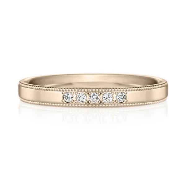K18CG スクエア ダイヤモンド 5pcs プチエタニティ リング ミルグレイン 2.5mm