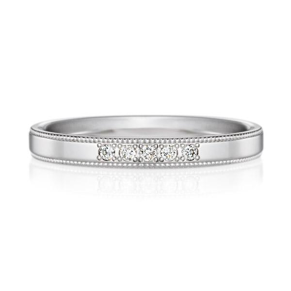 PT950 スクエア ダイヤモンド 5ps プチエタニティ リング ミルグレイン 2.5mm