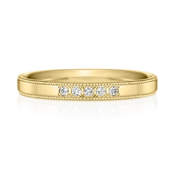 K18YG スクエア ダイヤモンド 5pcs プチエタニティ リング ミルグレイン 2.5mm