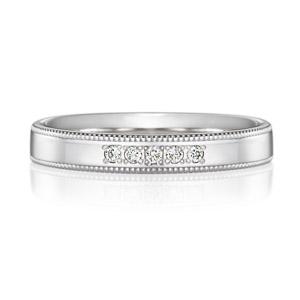 PT950 スクエア ダイヤモンド 5pcs プチエタニティ リング ミルグレイン 3.0mm