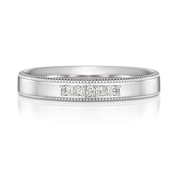 PT950 スクエア ダイヤモンド 5ps プチエタニティ リング ミルグレイン 3.0mm