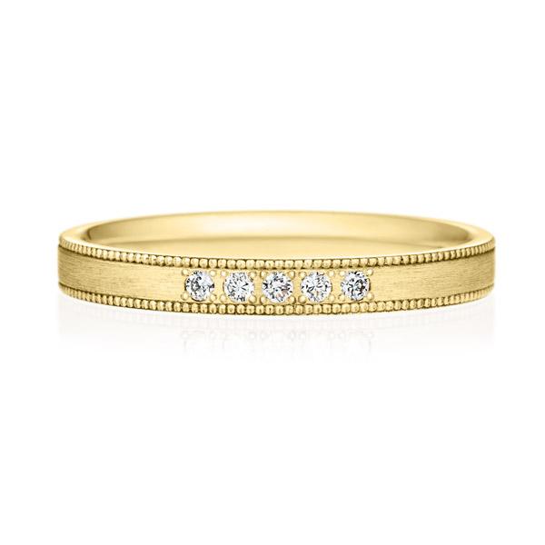 K18YG スクエア ダイヤモンド 5ps プチエタニティ リング ミルグレイン ヘアーライン  2.5mm