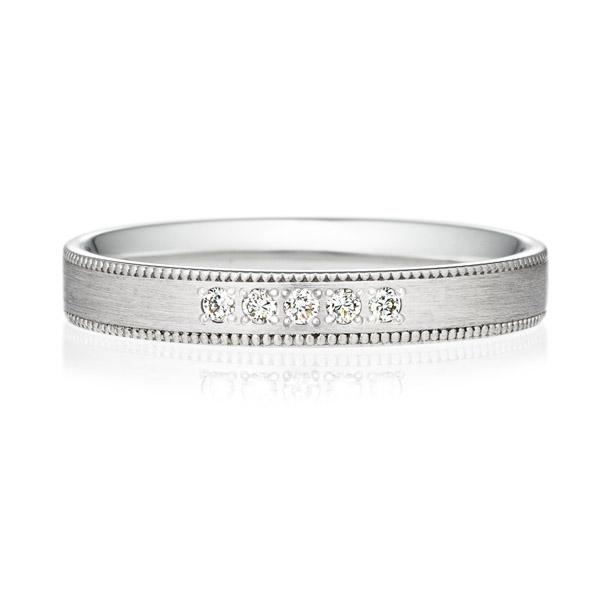 PT950 スクエア ダイヤモンド 5pcs プチエタニティ リング ミルグレイン ヘアーライン  3.0mm