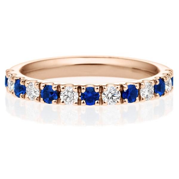K18PG スクエア プレシャスストーン ブルー サファイア ダイヤモンド ハーフエタニティ リング 2.5mm 4-9.5
