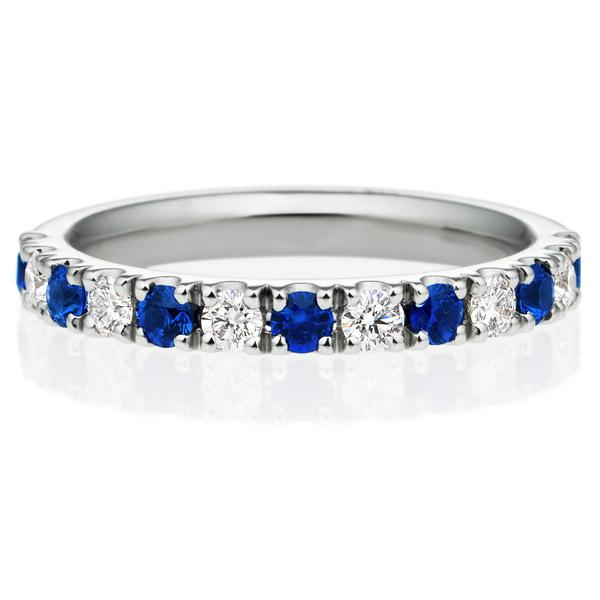 PT950 スクエア プレシャスストーン ブルー サファイア ダイヤモンド ハーフエタニティ リング 2.5mm 4-9.5