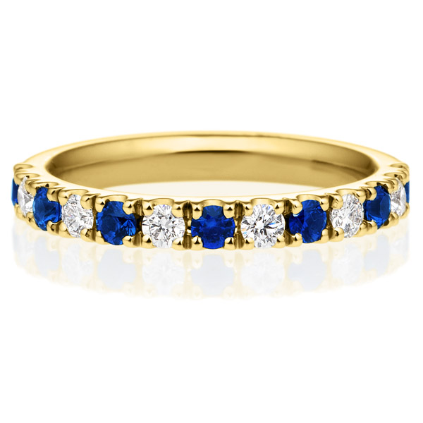K18YG スクエア プレシャスストーン ブルー サファイア ダイヤモンド ハーフエタニティ リング 2.5mm 4-9.5