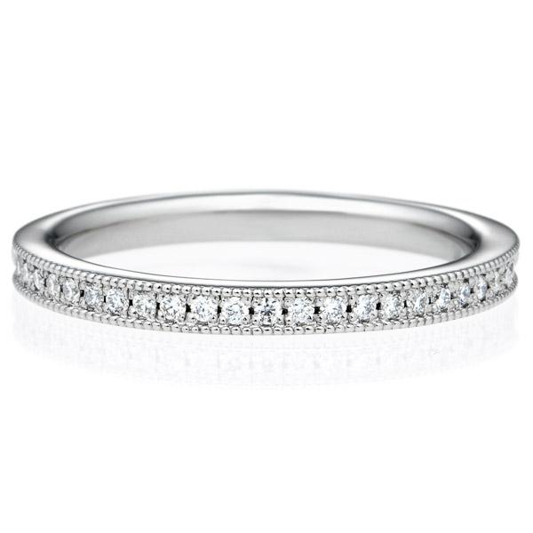 K18WG スクエア ダイヤモンド ハーフエタニティ リング ミルグレイン 2.0mm 4-14.5