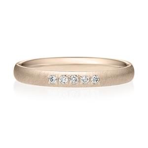 K18CG オーバル ダイヤモンド 5pcs プチエタニティ リング サティーン  2.5mm