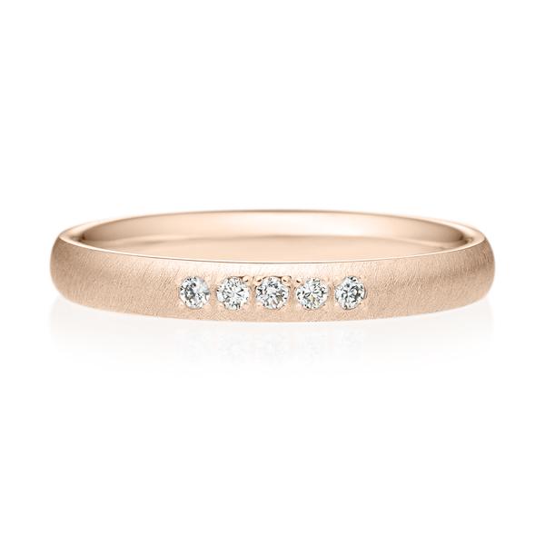 K18PG オーバル ダイヤモンド 5pcs プチエタニティ リング サティーン  2.5mm