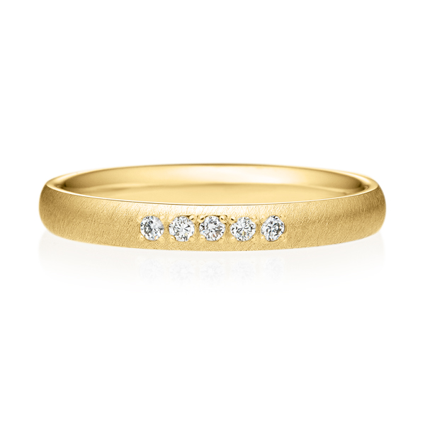 K18YG オーバル ダイヤモンド 5pcs プチエタニティ リング サティーン  2.5mm