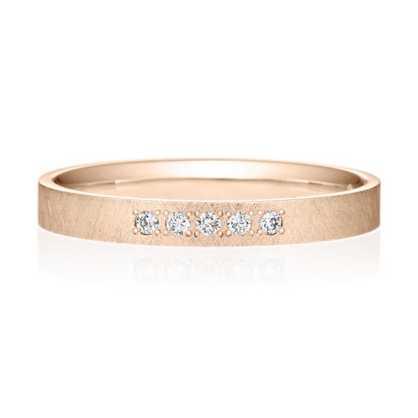 K18PG スクエア ダイヤモンド 5pcs プチエタニティ リング サティーン  2.5mm