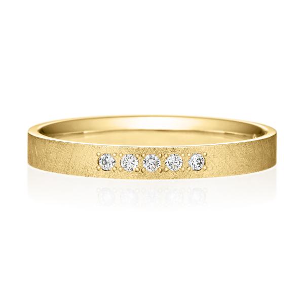 K18YG スクエア ダイヤモンド 5pcs プチエタニティ リング サティーン  2.5mm