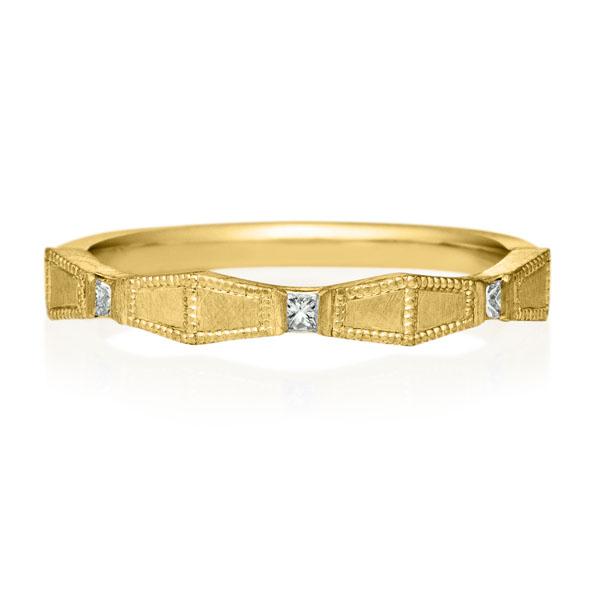 K18YG ラティス プリンセス ダイヤモンド 3pcs リング ミルグレイン サティーン 2.5mm 4-14