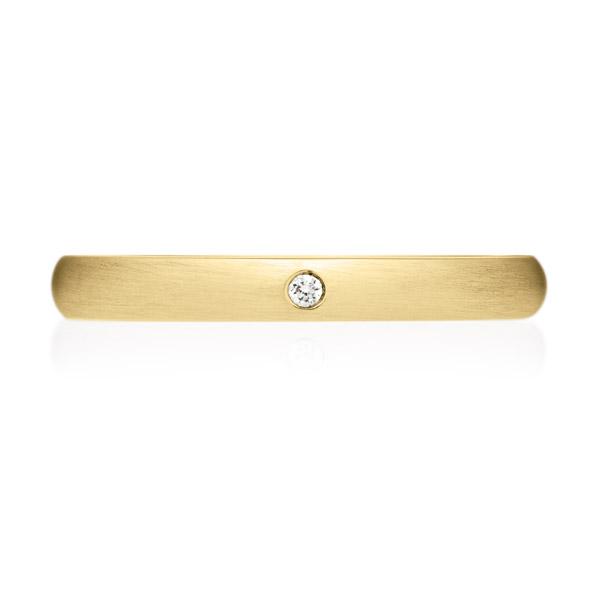 K18YG オーバル ダイヤモンド 1pc リング ヘアーライン 2.5mm 4-14