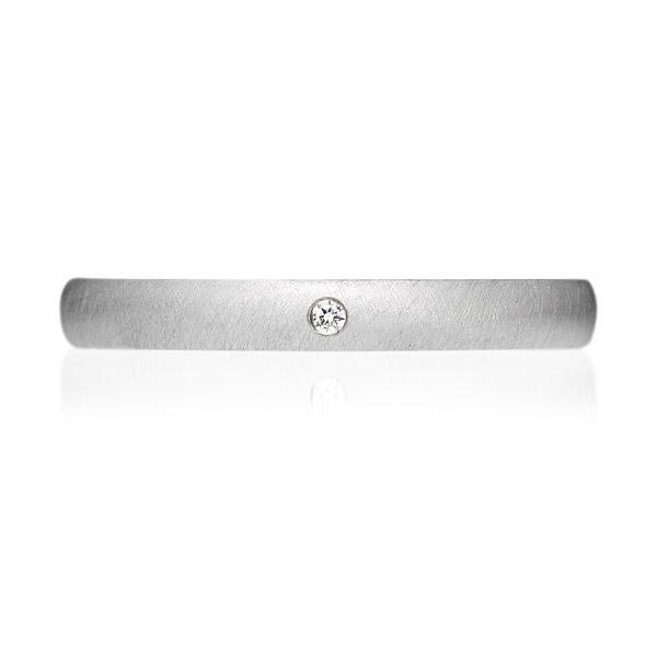 PT950 オーバル ダイヤモンド 1pc リング サティーン 2.5mm 4-14