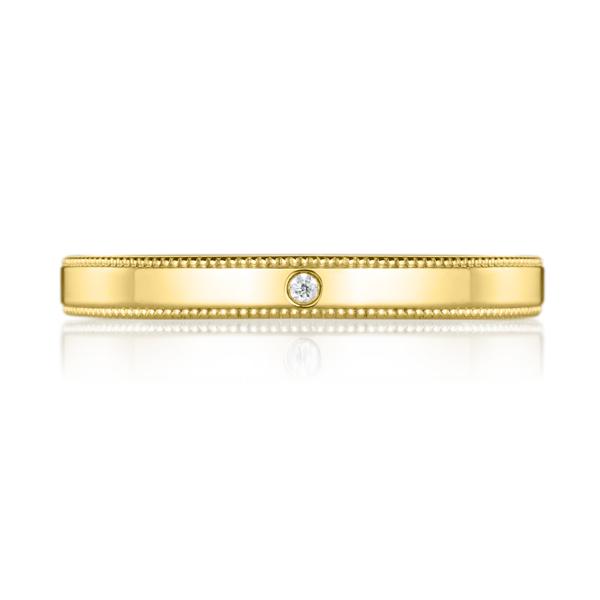 K18YG スクエア ダイヤモンド 1pc リング ミルグレイン 2.5mm 4-14