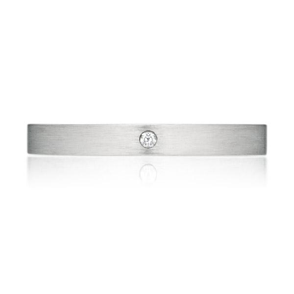 PT950 スクエア ダイヤモンド 1pc リング ヘアーライン 2.5mm 4-14