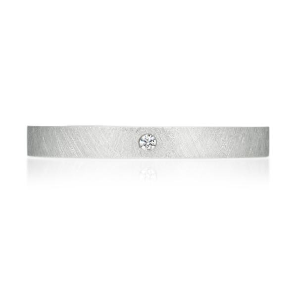 PT950 スクエア ダイヤモンド 1pc リング サティーン 2.5mm 4-14