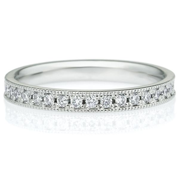 K18WG スクエア ダイヤモンド ハーフエタニティ リング ミルグレイン 2.5mm 4-7