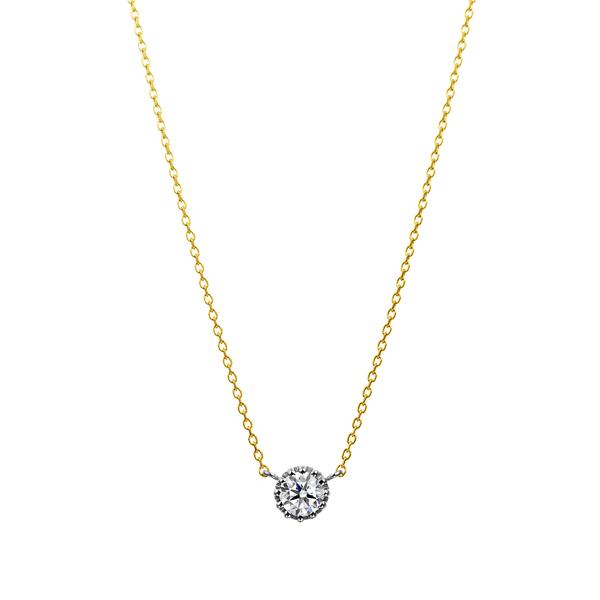 PT900/K18YG 12ポイントセッティング ダイヤモンド コンビネーション ネックレス 40cm 0.2ct