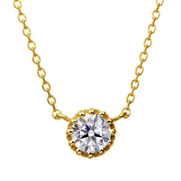 K18YG 12ポイントセッティング ダイヤモンド ネックレス 40cm 0.2ct