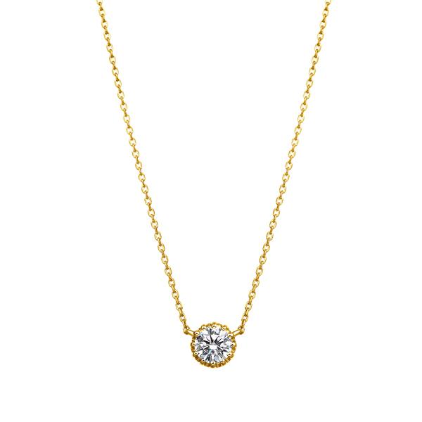 K18YG 12ポイントセッティング ダイヤモンド ネックレス 40cm 0.3ct