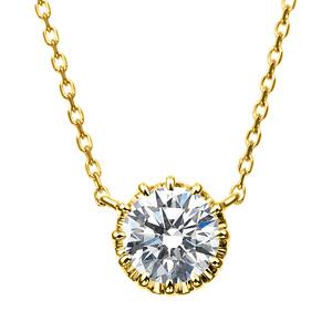K18YG 12ポイントセッティング ダイヤモンド ネックレス 40cm 0.5ct