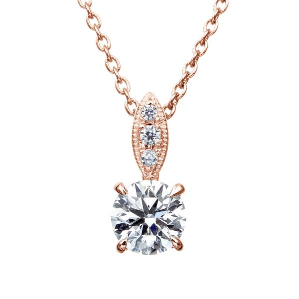 K18PG ダイヤモンド ペンダント ミルグレイン 40cm 0.3ct