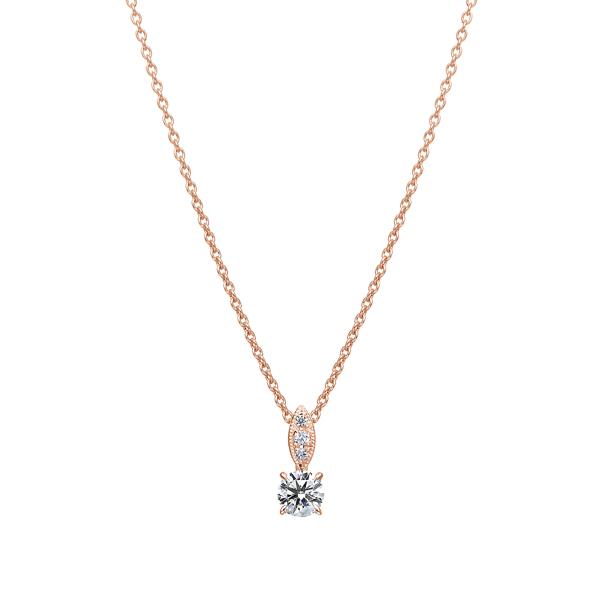 K18PG ダイヤモンド ペンダント ミルグレイン 45cm 0.2ct