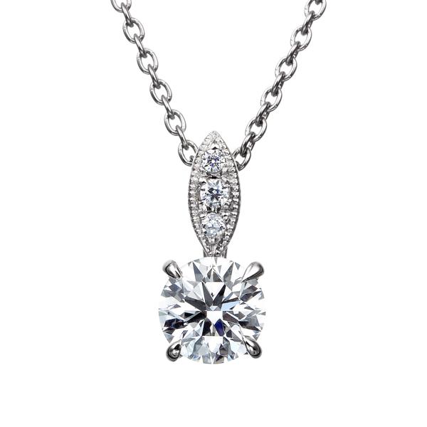 PT900 ダイヤモンド ペンダント ミルグレイン 40cm 0.3ct