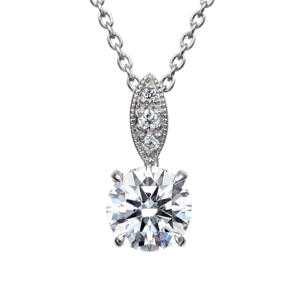 PT900 ダイヤモンド ペンダント ミルグレイン 40cm 0.5ct