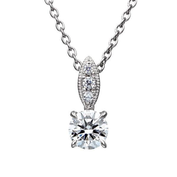 PT900 ダイヤモンド ペンダント ミルグレイン 45cm 0.2ct