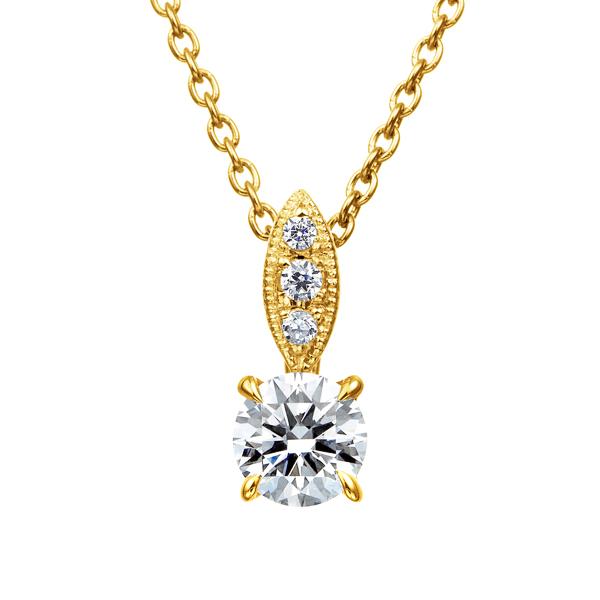 K18YG ダイヤモンド ペンダント ミルグレイン 40cm 0.2ct