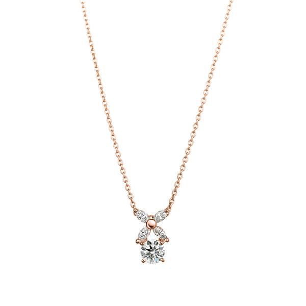 K18PG フラワーモチーフ ダイヤモンド ペンダント 45cm 0.2ct