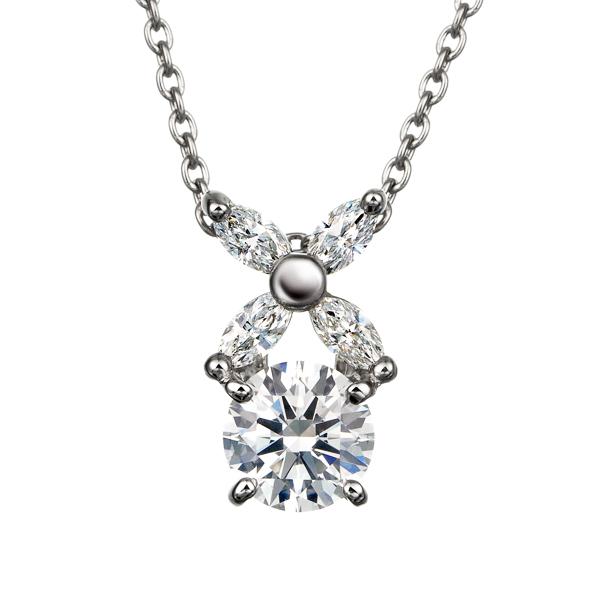 PT900 フラワーモチーフ ダイヤモンド ペンダント 40cm 0.3ct