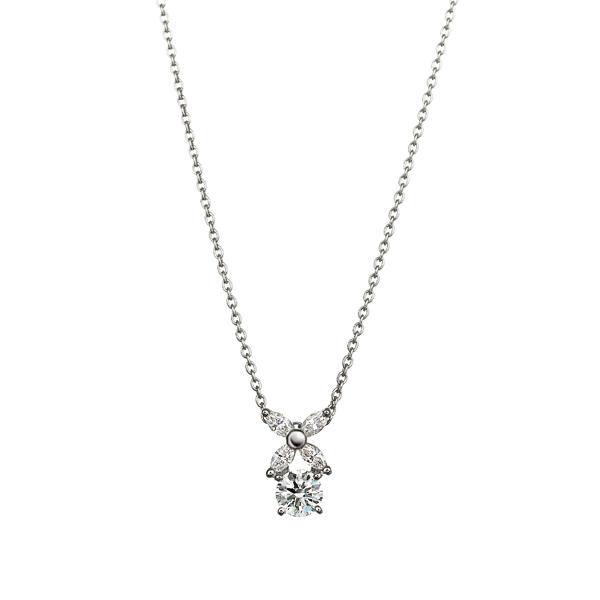 PT900 フラワーモチーフ ダイヤモンド ペンダント 45cm 0.2ct
