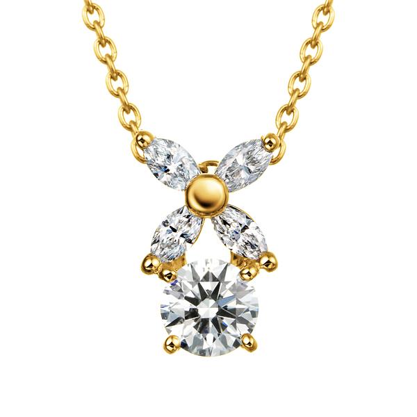 K18YG フラワーモチーフ ダイヤモンド ペンダント 40cm 0.2ct