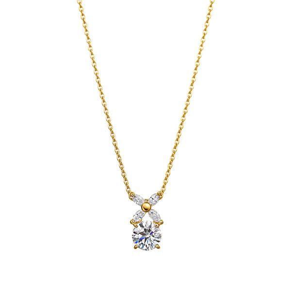 K18YG フラワーモチーフ ダイヤモンド ペンダント 40cm 0.5ct