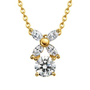 K18YG フラワーモチーフ ダイヤモンド ペンダント 45cm 0.2ct
